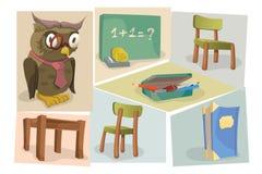 Иллюстрация установила для задней части к теме школы Стоковые Изображения
