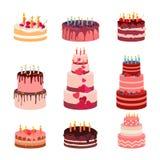 Иллюстрация установленных тортов испеченных помадкой изолированных Торт замороженности на праздник, пирожное клубники, коричневый иллюстрация штока