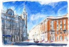 Иллюстрация улицы города Стоковое фото RF