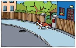 Иллюстрация улицы и собаки Стоковые Фотографии RF
