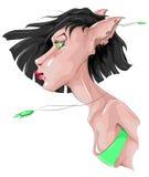 Чертеж фантазии женщин-кота Стоковое фото RF