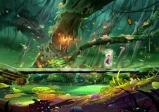 Иллюстрация: Фея делает отливку произношения по буквам на каменном мосте глубоко внутри пышного леса, около старого волшебного де бесплатная иллюстрация