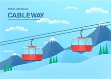 Иллюстрация фуникулера с местом для текста знамя канатной железной дороги Кабел-кран в горах Стоковая Фотография RF