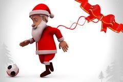 иллюстрация футбола 3d Санта Клауса Стоковое фото RF