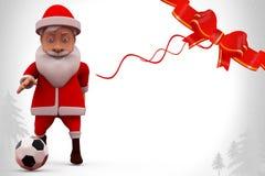 иллюстрация футбола 3d Санта Клауса Стоковое Фото