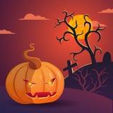 Иллюстрация хеллоуина вектора с головой тыквы Стоковые Фотографии RF