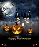 Иллюстрация хеллоуина с замком, усыпальницей и летучими мышами Стоковое фото RF