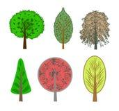 Иллюстрация цветастых деревьев в комплекте Стоковое фото RF