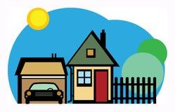 Дом и гараж иллюстрация вектора