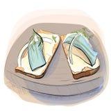 Иллюстрация цвета хлеба с маслом на плите Стоковые Фото