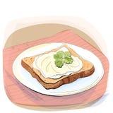Иллюстрация цвета хлеба с маслом на плите Стоковое Изображение RF