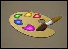 Иллюстрация цвета Pallete и щетки Стоковое Изображение