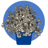 Иллюстрация цветка в баке Стоковое фото RF