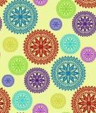 иллюстрация цветков зеленая выходит картине мандала безшовные тоны Стоковые Фото