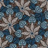 иллюстрация цветков зеленая выходит картине мандала безшовные тоны Стоковое Изображение RF