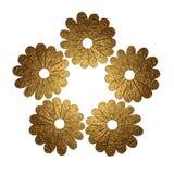 Иллюстрация цветков золота абстрактная покрашенная рука предпосылки флористическая Стоковые Фото