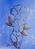 Иллюстрация цветков на голубой предпосылке Стоковые Изображения
