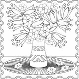 Иллюстрация цветков элементов страницы расцветки декоративная декоративная Стоковая Фотография RF