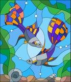 Иллюстрация цветного стекла аквариума удит на предпосылке воды и водорослей Стоковые Изображения