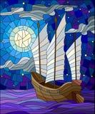 Иллюстрация цветного стекла восточный корабль с белыми ветрилами на предпосылке неба, солнца и океана Стоковое Изображение RF