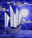 Иллюстрация цветного стекла восточный корабль с белыми ветрилами на предпосылке неба, солнца и океана, голубого тона Стоковое фото RF