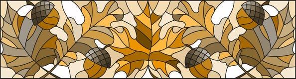 Иллюстрация цветного стекла на теме осени, листьев, дуба, клена, осины и жолудей, горизонтальной ориентации, коричневого тона, се бесплатная иллюстрация