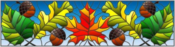 Иллюстрация цветного стекла на теме осени, листьев, дуба, клена, осины и жолудей на голубой предпосылке, горизонтальном orientat иллюстрация штока