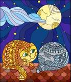Иллюстрация цветного стекла несколько коты сидя на крыше против звёздного неба и луны бесплатная иллюстрация