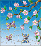 Иллюстрация цветного стекла с абстрактными вишневыми цветами и бабочками на предпосылке неба Стоковое фото RF