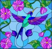Иллюстрация цветного стекла с красочным колибри на предпосылке неба, растительности и цветков Стоковое Изображение RF