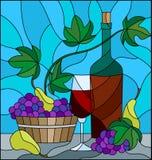 Иллюстрация цветного стекла с натюрмортом, бутылка вина, стекло и виноградины на голубой предпосылке иллюстрация штока