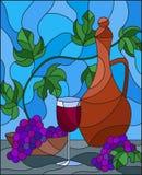 Иллюстрация цветного стекла с натюрмортом, кувшин вина, стекло и виноградины на голубой предпосылке иллюстрация штока