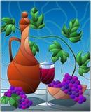 Иллюстрация цветного стекла с натюрмортом, кувшин вина, стекло и виноградины на голубой предпосылке бесплатная иллюстрация