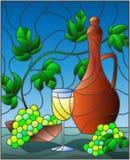 Иллюстрация цветного стекла с натюрмортом, кувшин вина, стекло и виноградины на голубой предпосылке иллюстрация вектора