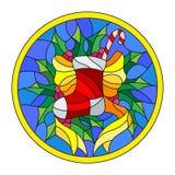 Иллюстрация цветного стекла с носком рождества, лентой и падубом разветвляет на голубой предпосылке, круглой картинной рамке Стоковые Фотографии RF