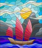 Иллюстрация цветного стекла с старой шлюпкой на предпосылке моря, солнечного неба и берега иллюстрация штока