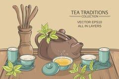 Иллюстрация церемонии чая иллюстрация штока