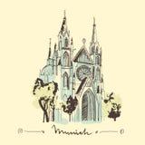 Иллюстрация церков нарисованная рукой Стоковые Фото