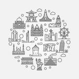 Иллюстрация циркуляра ориентир ориентиров мира бесплатная иллюстрация