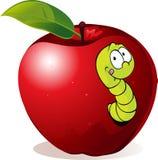 Иллюстрация червя шаржа в красном Яблоке Стоковые Изображения RF