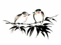 Иллюстрация чернил 2 птиц на бамбуке Стиль Sumi-e Стоковое Фото