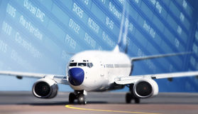 иллюстрация черноты самолета воздушных судн 3d изолировала взлётно-посадочная дорожку посадки Стоковое Фото