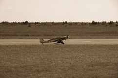 иллюстрация черноты самолета воздушных судн 3d изолировала взлётно-посадочная дорожку посадки Стоковые Фото
