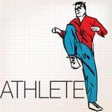 Иллюстрация человека делая протягивая работает на спортзале Стоковые Изображения