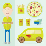 Иллюстрация человека поставляя пиццу бесплатная иллюстрация