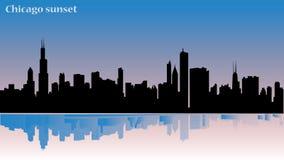 Иллюстрация Чикаго - заход солнца - отражение здания в воде - значительно зданиях от этого городка, плоского дизайна иллюстрация вектора