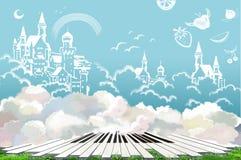 Иллюстрация: Чудесная земля счастливой жизни Doodled замок, плодоовощ в небе Ключи рояля на траве иллюстрация вектора