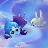 Иллюстрация: Чудесные красивые мелодии свободный летать настолько высоко в небо иллюстрация штока