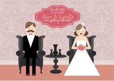 Иллюстрация шаблона карточки приглашения свадьбы иллюстрация штока