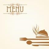 Иллюстрация шаблона для карточки меню с столовым прибором Стоковые Изображения